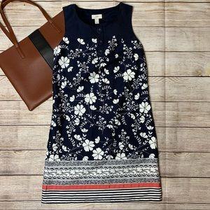 Ann Taylor Loft navy/white floral shift dress